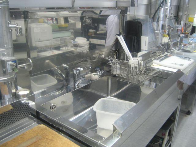 λ型プッシュプルユニット付流し台L1200