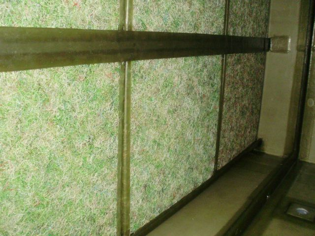 工場の壁面に黒カビが発生