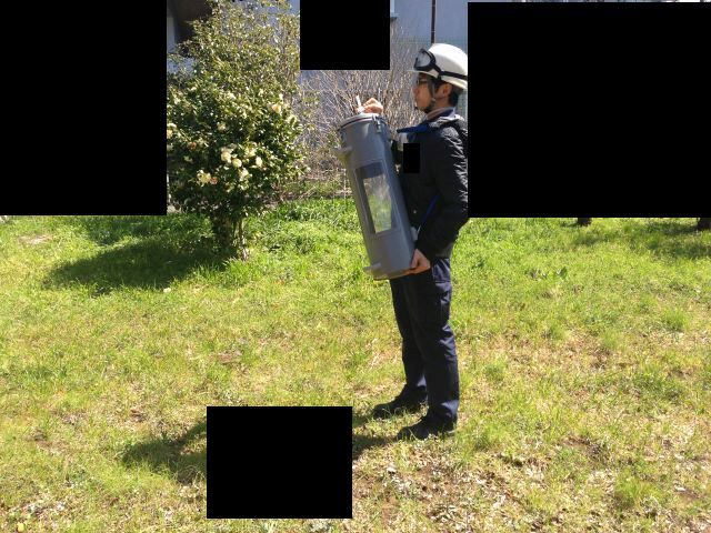 敷地境界線で環境測定を実施