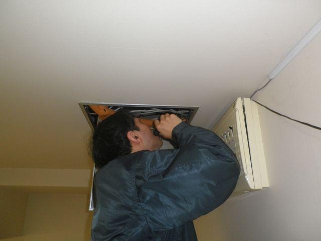 天井裏を臭気確認