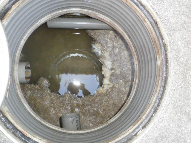 浄化槽は正常に稼働していたが、メンテ不足と思われた