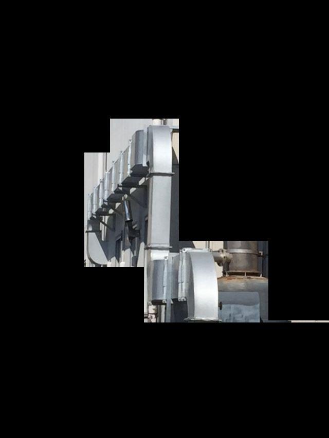 局所排気から脱臭装置までを繋ぐ排気ダクト